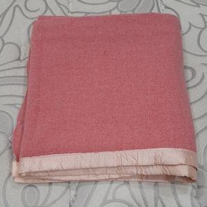 Vintage pink wool blanket 69 by 71